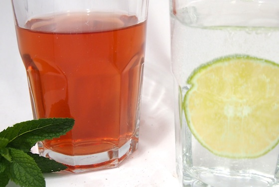 iced-tea or seltzer water